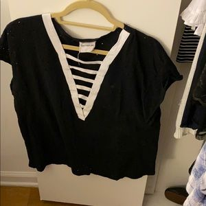Worn once black t shirt with white v neck